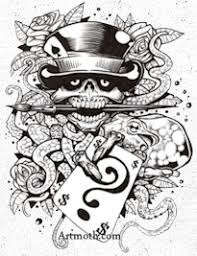 cowboy skull with cards tattoo design in 2017 real photo