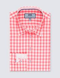 women u0027s coral u0026 white gingham check fitted shirt single cuff
