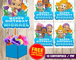 bubble guppies printable birthday food labels tent cards you