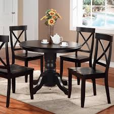 Espresso Pedestal Dining Table 5 Piece Dining Set Under 200 Rustic Style Dining Room With Eco