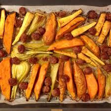 comment cuisiner le fenouille patate douce panais fenouil et saucisse rôtis au four