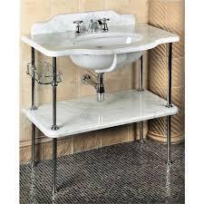 Console Sinks Bathroom Console White Carrera Marble Countertop Shelf Traditional Bath