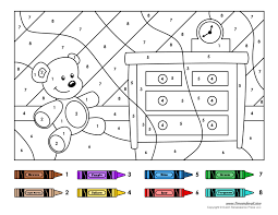 free color number pages kindergarten coloring