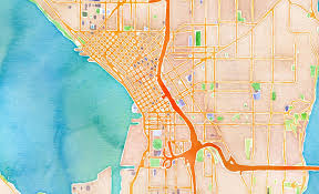Stamen Maps The New Pioneer Square U2013 Gorgeous Watercolor Map Of Downtown