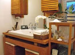 bathrooms natural bathroom with white sink and wood storage plus
