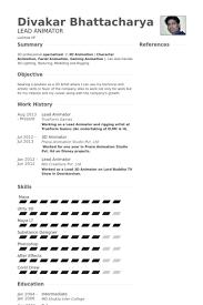 3d Artist Resume Sample 3d Animator Resume Format Eliolera Com