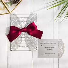 Purple And Silver Wedding Invitations Burgundy And Gray Laser Cut Wedding Invitations Swws043 Stylishwedd