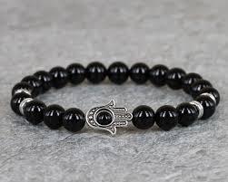 fashion evil eye bracelet images 1pc 8mm adjustable energy stone beads hamsa bracelet silver palm jpg