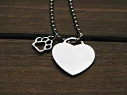 pet memorial necklace heart necklace paw print charm personalized animal lover gift pet memo
