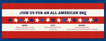 4th of july patriotic invitations barbeque bbq