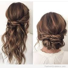 brunette easy hairstyles halfway up hairstyle and bun with brunette balayage fashion