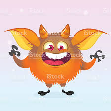 cute cartoon monster smiling halloween vector fluffy orange