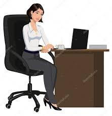 ordinateur portable bureau femme de bureau derrière un bureau avec un ordinateur portable