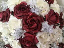 burgundy roses burgundy glitter with silver babies breath groovyruby ltd