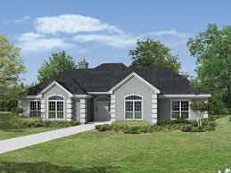 apartment symmetrical stucco ranch with decorative corner quoins