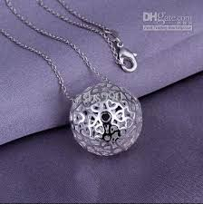 silver ball pendant necklace images Wholesale low price 925 sterling silver plated hollow pendant jpg