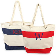 nautical tote personalized bag with rope handles personalized nautical striped