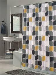 Grey Bathroom Curtains Geometric Kawung Batik Pattern Shower Curtains Sets For Painted