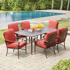 Patio Furniture Set With Umbrella - hampton bay oak cliff 7 piece metal outdoor dining set with chili