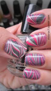 nail art valentines day abstract swirly heart waterle nail art