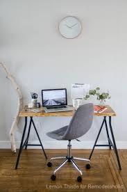 Trestle Computer Desk Remodelaholic Ikea Hack Easy Diy Live Edge Desk With Trestle Legs