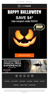 halloween email from lootcrate with discount code emailmarketing halloween email from lootcrate with discount code