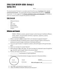 spring semester final exam review guide bio i version