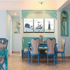 lighthouse home decor 3 panel boat whale and lighthouse cartoon home decor modern wall