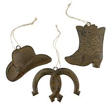 tin antique rust western ornaments hat boot horseshoe 3