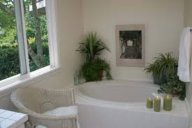 bathroom contemporary wooden chair white wainscoting circular