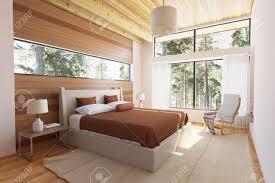 Bedroom Bed In Front Of Window Wooden Bedroom Interior With Bed Wooden Front Walls And Big Window