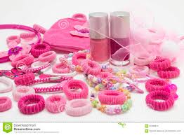 pink fashion girly hair and nail accessories clips band and