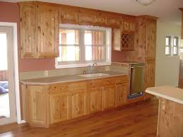 simple rustic knotty alder kitchen cabinets features straight