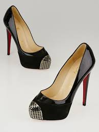 christian louboutin black suede patent leather steel toe platform