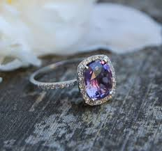 2 6ct cushion plum color change sapphire 14k white gold - Chagne Engagement Ring