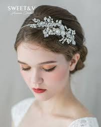 pearl headband handmade pearl headband tiara rhinestone bridal hair jewelry side