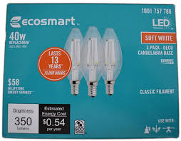 ecosmart light bulbs warranty ecosmart 40w equivalent soft white b11 dimmable filament e12 led