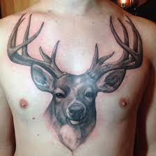 awesome grey ink deer on chest