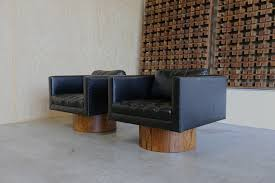 Harveys Armchairs Harvey Probber Black Leather And Rosewood Swivel Lounge Chairs