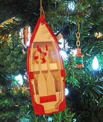 wooden dinghy nautical tree ornament decor skipjack