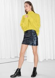 sequin skirt sequin mini skirt midnight blue other stories