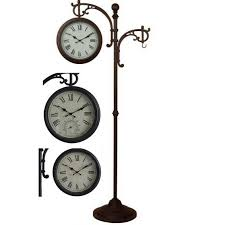 Outdoor Patio Gift Ideas by Hi Line Gift Outdoor Clock With Thermometer Plant Hanger On Stand