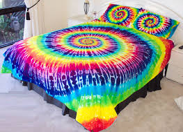 hand dyed rainbow tie dye duvet cover and pillow case covers