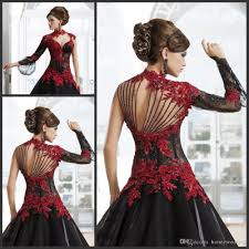 2015 masquerade high neck red lace a line black tulle bridal gowns