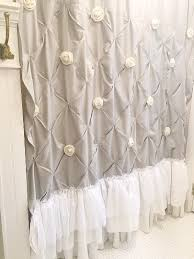 Shabby Chic Voile Curtains White Shabby Chic Shower Curtain With Ruffles And Custom Burlap