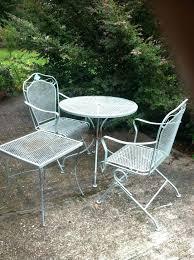 Iron Patio Table Set White Metal Patio Furniture Quiky Co