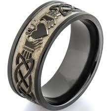 mens claddagh ring men s black zirconium claddagh celtic ring claddagh claddagh