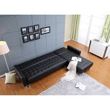 Leather Tufted Sectional Sofa Marsden Black Tufted Bi Cast Leather 2 Piece Sectional Sofa Bed
