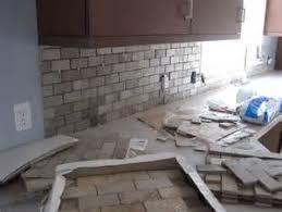 Natural Stone Subway Tile Backsplash - Layered stone backsplash