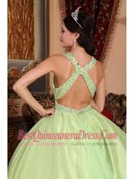 yellow green ball gown v neck floor length tulle and taffeta